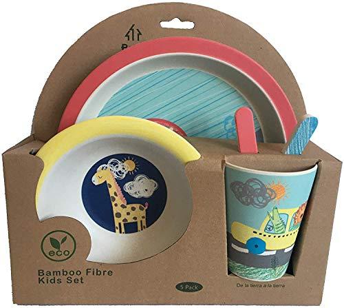 Vajilla Bambu Infantil - Vajilla Fibra de Bambú Niños y Bebés 5 Piezas - Material Ecologico, Reciclable - Apto para Lavavajillas - Pack Eco, Bio, sin BPA (Bamboo) - Con Plato, Tazon, Vaso y Cubiertos
