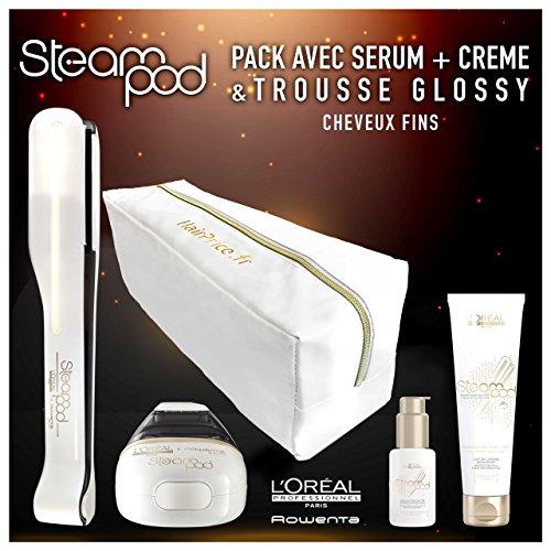 L\'Oreal - Pack de plancha de vapor para el pelo Steampod 2.0 con sérum, leche alisadora para cabello fino y neceser de almacenamiento brillante
