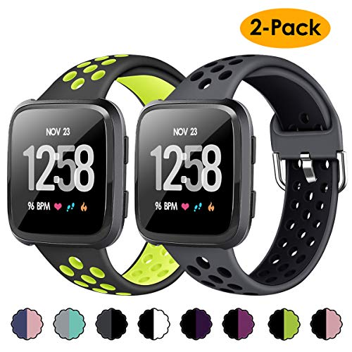 XIMU 2-Pack Sport Bands Compatible with Fitbit Versa 2 / Versa/Versa Lite, Soft Silicone Waterproof Breathable Sport Watch Strap Replacement Wristband Accessories Women Man for Versa Smart Watch