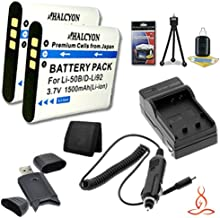 Two Halcyon 1500 mAH Lithium Ion Replacement LI-50B Battery and Charger Kit + Memory Card Wallet + SDHC Card USB Reader + Deluxe Starter Kit for Olympus SZ-12 14 Megapixels Digital Camera and Olympus LI-50B