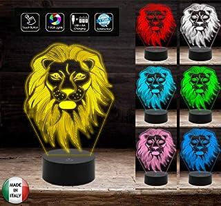 Lampada led LEONE 7 colori selezionabili con touch Luce decorativa da casa negozio ufficio RE DEGLI ANIMALI Idea regalo or...