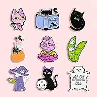 ZSCZQ 漫画太った猫のバッジかわいい魔法の猫エンドウ豆ピンクのウサギの金属エナメルブローチファッションワイルドアパレルバックパックジュエリーアクセサリーギフトXZ1576