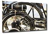Fine-Art-Manufaktur NSU Oldtimer Motorrad Detail Räder Bilder Werkstadt Technik Alt XL | Aus der Serie Oldtimer Motorräder | Farbe: braun | Rubrik: zweiraeder + technik