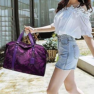 HAWEEL Foldable Travel Bag, Oxford Cloth Shoulder Travel Bag Leisure Sport Handbag (Black) (Color : Purple)