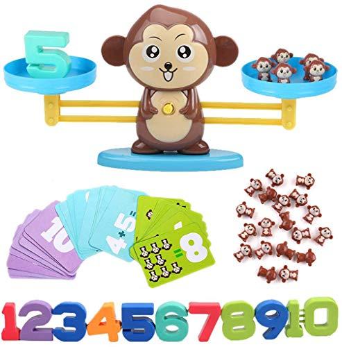 BYBOT Balance de Singe Apprentissage des mathématiques Jeu Mathematic Outil Jouet éducatif Cadeau pour Enfants 3 Ans et Plus (65 piercet)