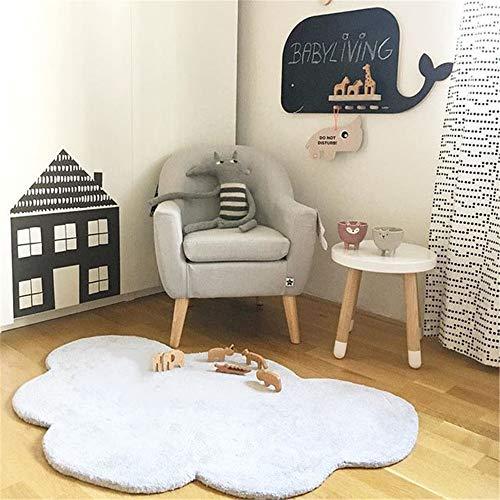 Sarah Duke Babyteppich Wolke Kinderteppich 100% Baumwolle Kinderzimmer Teppich 100 x 65cm Grau weiß Rosa (Weiß)