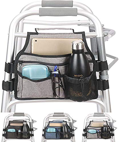 Side Walker Bag with Cup Holder, Folding Walkers Side Accessaries Organizer Pouch Tote for Seniors, Elderly (Gray)