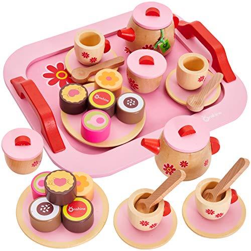 Buyger 18 Stück Teeservice Kinder Holz Kaffeeservice Puppengeschirr Spielzeug Kinderküche Zubehör für Kinder ab 3 Jahre (Rosa)
