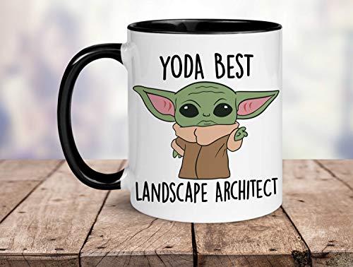 Yoda - Taza de Yoda con diseño de arquitecto paisajista, regalo divertido para arquitecto paisajista, tarjeta de cumpleaños, mejor arquitecto paisajista del mundo