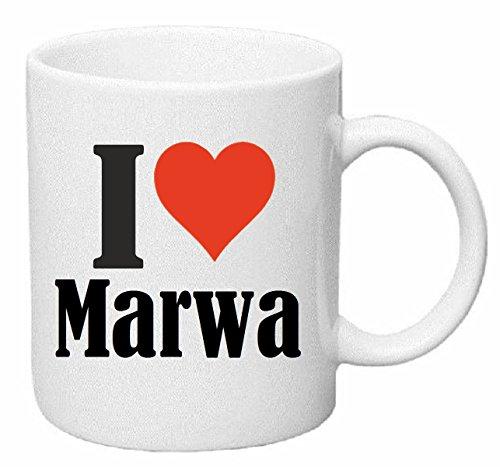 taza para café I Love Marwa Cerámica Altura 9.5 cm diámetro de 8 cm de Blanco