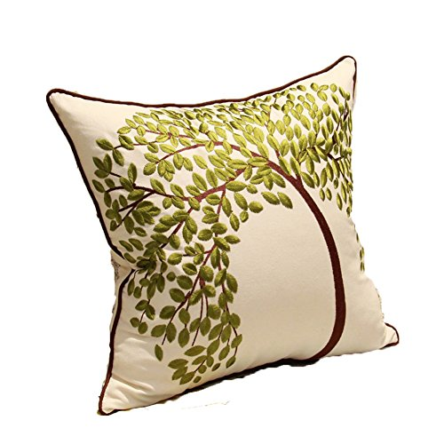 ZUODU Green Cushion Cover 50cmx50cm Embroidery Cotton Linen Decorative Throw Pillow Cover Cushion Case Pillow Case - The Tree of Life (GREEN-50x50cm)