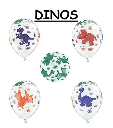 SiDeSo® 6 Luftballons mit Tieren Party Geburtstag Jahrestag Heliumgeeignet (Dinos)