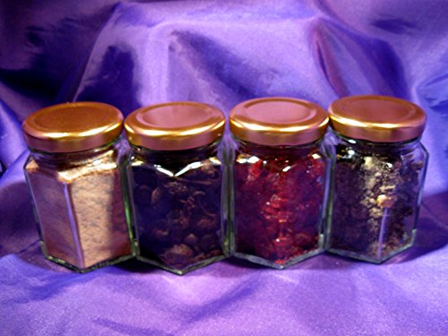 Ascension777 INR053F Resin Jars Set of Four + 20 Charcoal Discs