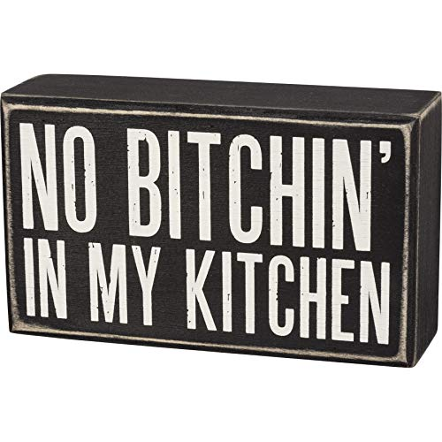 Primitives by Kathy Box Sign - in My Kitchen, 6x3.5 inches, Black, White