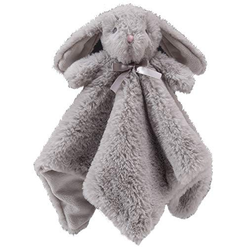 CREVENT Cozy Plush Baby Security Blanket Loveys for Baby Boys and Girls, Minky Dot Front + Sherpa Backing with Animal Face (Grey Bunny)