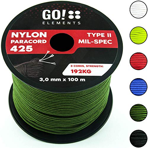 GO!elements 100m Paracord Corda in Nylon antistrappo - 3mm Paracord 425 Tipo II Linee Come Corda da Esterno, Corda Multiuso, Corda di Sopravvivenza - Linea in Nylon Max. 192kg, Color:Oliva