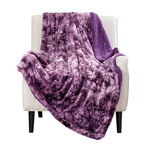 Bedsure Faux Fur Reversible Tie-dye Sherpa Throw Blanket for Sofa, Couch and Bed - Super Soft Fuzzy Fleece Blanket for Outdoor, Indoor, Camping, Gifts (50x60 inches, Purple)