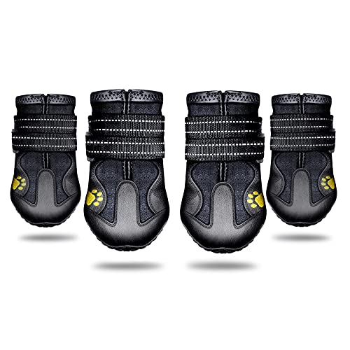 Monlida Protective Dog Boots,4 PCS Waterproof Dog Shoes with Adjustable Straps Reflective,Dog Shoes with Wear-Resistant and Rugged Anti-Slip Sole(8:3.22'x2.99'(LW))