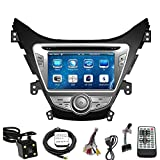 Car GPS Navigation System for HYUNDAI ELANTRA 2011 2012 2013 Double Din Car Stereo DVD Player 8 Inch Touch Screen TFT LCD Monitor In-dash DVD Video Receiver with Built-In Bluetooth TV Radio, Support Factory Steering Wheel Control, RDS SD/USB iPod AV BT AUX IN+ Free Rear View Camera + Free GPS Map of USA
