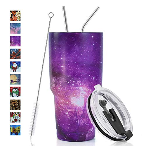 SYACOT 30oz Tumbler Double Wall Stainless Steel Vacuum Insulated Travel Mug with Splash-Proof Lid Metal Straw and Brush