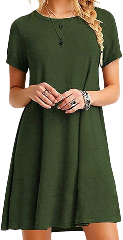 ZICUE Womens Short Sleeve Loose Fitted Dress Casual Mini Swing Tunic T-Shirt Dress 2XS-5XL