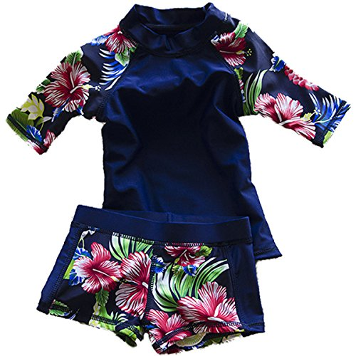 Baby Girls Kids Toddler Two Piece Round-Neck Rash Guard UV Sun Protection Swimsuit (4-5 Years, Navy)