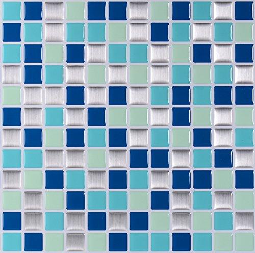 nanly Decorativos Adhesivos Para Azulejos Pegatina de pared,Azulejos de gel,efecto 3d,autoadhesivo, Para cuarto de baño y cocina, 10'x10'(4 piezas)(Blue Mosaic)