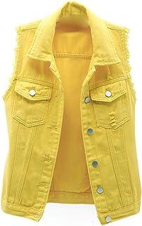 GYUANLAI Lady Gilets Denim Vest Slim Slimming Waistcoat Casual Vest Jacket