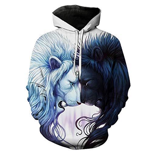 Europe and America - Sudadera con capucha con diseño abstracto de cabeza de león en 3D