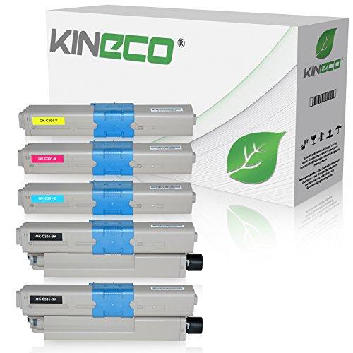 5 Toner kompatibel zu Oki C301 C321 DN MC-332 DN 340 Series 342 DN DNW - 44973536 44973535 44973534 44973533 - Schwarz je 2.200 Seiten, Color je 1.400 Seiten