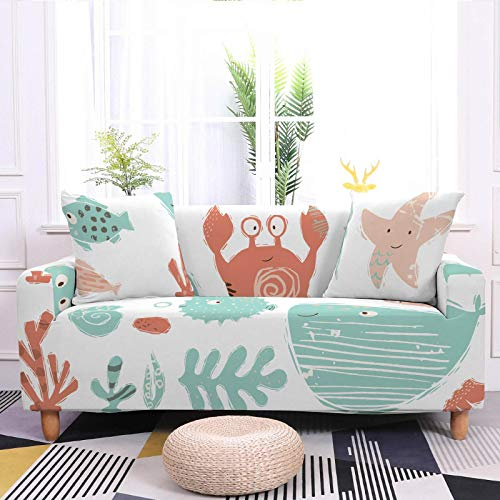Stretch Sofa Couch Covers Elastic Fabric crab Fish Pattern Universal Fitted Armchair Loveseat Settee Slipcover Durable Furniture Protector From Dogs/Pets/Kids,3,seater 190,230cm