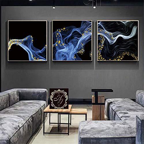 WSNDG eenvoudige moderne lichte woonkamer slaapkamer gouden abstracte klasse achtergrond muurschildering drievoudige decoratieve schildering zonder fotolijst 70x70cm A5