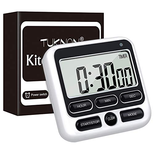 Temporizador Cocina, Temporizador Digital, Kitchen Timer, Temporizador Digital LED de Cuenta Regresiva Magnética con Alarma Sonora Ajustable y Función de Memoria para Cocinar, Estudiar Deportes