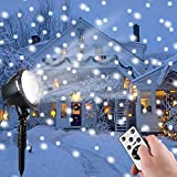 Minetom Christmas Projector Lights, Rotating LED Snowfall Projection Lamp with Remote Control, Outdoor Waterproof Landscape Decorative Lighting for Christmas, Holiday, Party, Wedding, Garden, Patio
