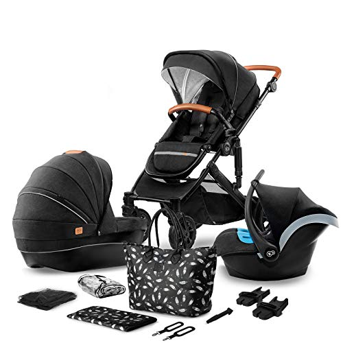 Kinderkraft Pram 3 in 1 Set Prime 2020, Travel System, Elegant Baby Pushchair, Buggy, Foldable, with Infant Car Seat, Carrycot, Accessories, Rain Cover, Footmuff, from Birth, Black