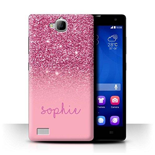 Personalisiert Hülle Für Huawei Honor 3C Persönlich Glitter Effekt Rosa Design Transparent Ultra Dünn Klar Hart Schutz Handyhülle Hülle