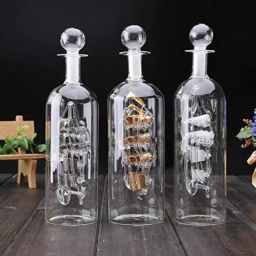 SHUANGBING Skulptur Dekoration Statue Figuren Versenden In Einer Flasche Glasboot Holzbasis Dekorative Maison Ornamente Raum Vintage Wohnkultur Hogar Dekoration Zubehör, Weiße Farbe