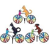 Bicicleta De Dibujos Animados Spinner Gato Perro Bicicleta Estaca De Jardín, Molino De Viento De Jardín para Niños Animal Encendido, Lindo Adorno De Decoración 3D Molinetes,D
