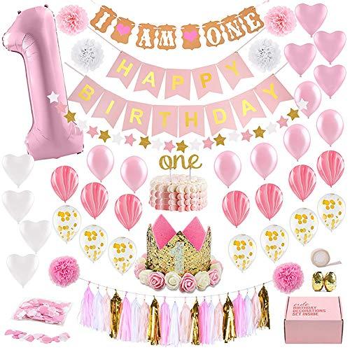 Dekoration zum ersten Geburtstag Baby Mädchen erste Dekoration Party Supplies Set Motto-Set Gold Rose Prinzessin 1 Jahr Hut Banner Fröhlicher Geburtstag Cake Topper, Ballon, Papierdekor