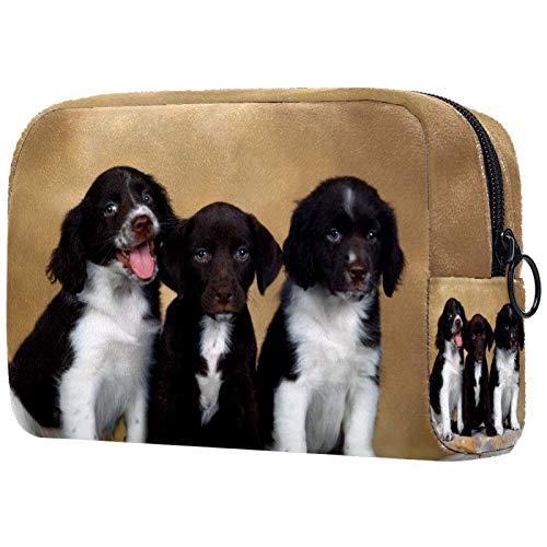 Bolsa de Maquillaje para niños Precioso Perro Blanco Negro Accesorio de Viaje Neceser Pequeño Bolsas de Aseo Suave al Tacto Cosmético Organizadores de Viaje 18.5x7.5x13cm