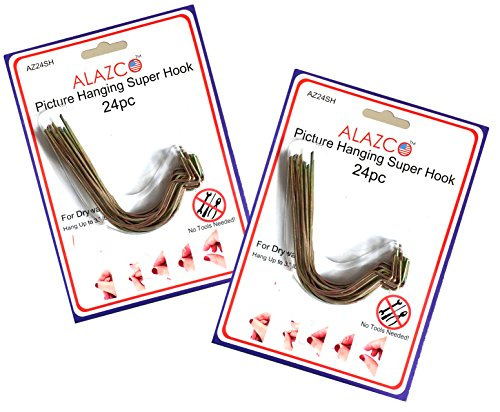 48pc Set ALAZCO Super Hooks - Hang Pictures Mirrors Clocks Wall Art Without Any Tool, Hammer, Nails or Drilling! Excellent Quality