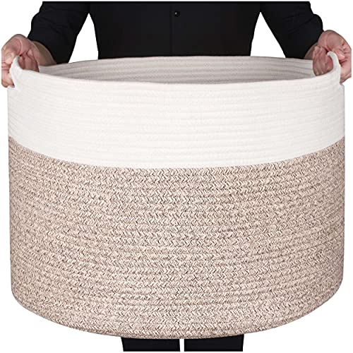 MINTWOOD Design Extra Large 22 x14 Inches Decorative Woven Cotton Rope Basket, Laundry Basket, Blanket Basket, Baby and Dog Toy Storage Baskets Bin, Kid Laundry Hamper, Towel Basket, Light Brown