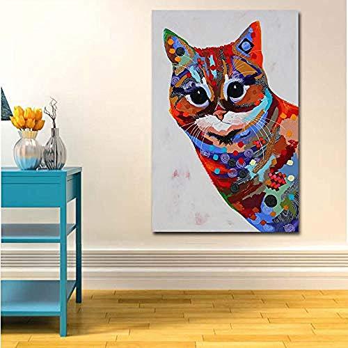 DZMEINI Leinwanddrucke Kunstdruck Auf,Kunst Buntes Öl Tier Lustige Katze Malerei Leinwand Bild Leinwand Gemälde Wandkunst Für Schlafzimmer-50×70 cm Unframed