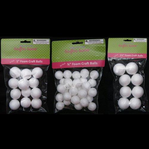 """50 Foam Polystyrene Art Craft Styro White Balls Project Styrofoam 3/4"""" 1"""" 1 1/2"""""""
