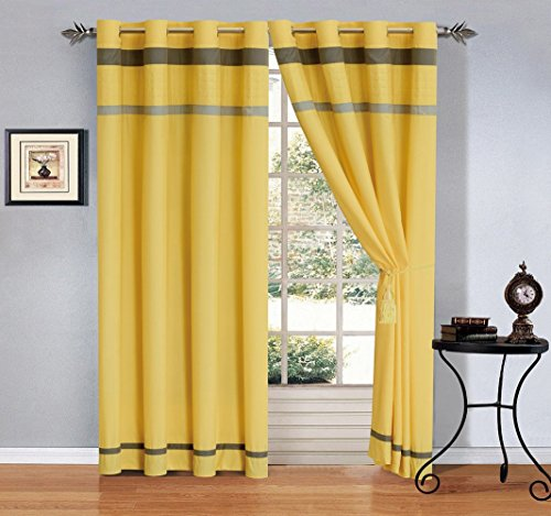"""Modern 4 - Piece Yellow/Grey/Off-White Grommet curtain set Drapes/Window Panels 120"""" Wide X 84"""" Tall"""