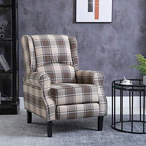 Ansley&HosHo Reclining Chair for Living Room Reclining TV Armchair Contemporary Armchair Gaming Wingback Tub Chair Cozy Luxury Large Leisure Chair Side Chair Linen Fabric Armchair Sofa Chair (Brown)