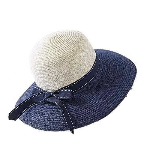 JUNGEN Sonnenhüte für Damen Faltbarer Strohhut Farbabstimmung Wide Rand Strandhut Farbdruck Garnband Dekoration Hüte für Sommerferien Size 56-58cm (blau)
