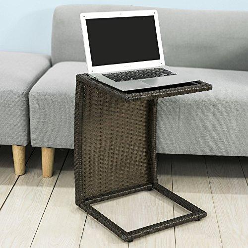 SoBuy® Tavolino da giardino o soggiorno, Tavolino da caffè, in Rattan, OGT13-SCH,IT