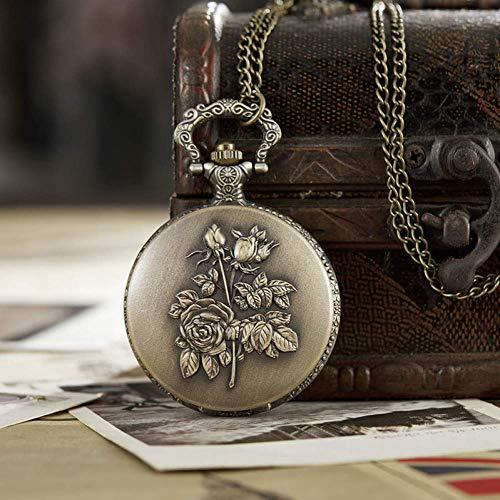 J-Love Reloj Bolsillo Antiguo con Cadena Fob, Reloj con Grabado Rosas y Flores para Hombre, Reloj con Caja Bronce con Tapa, Relojes Masculinos Vintage para Hombres y Mujeres, Regalos
