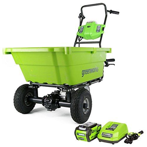 Greenworks GC40L410 Gartenwagen mit 4 Ah Akku und Ladegerät, 40 V